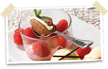 Raspberries and chocolate ice-cream